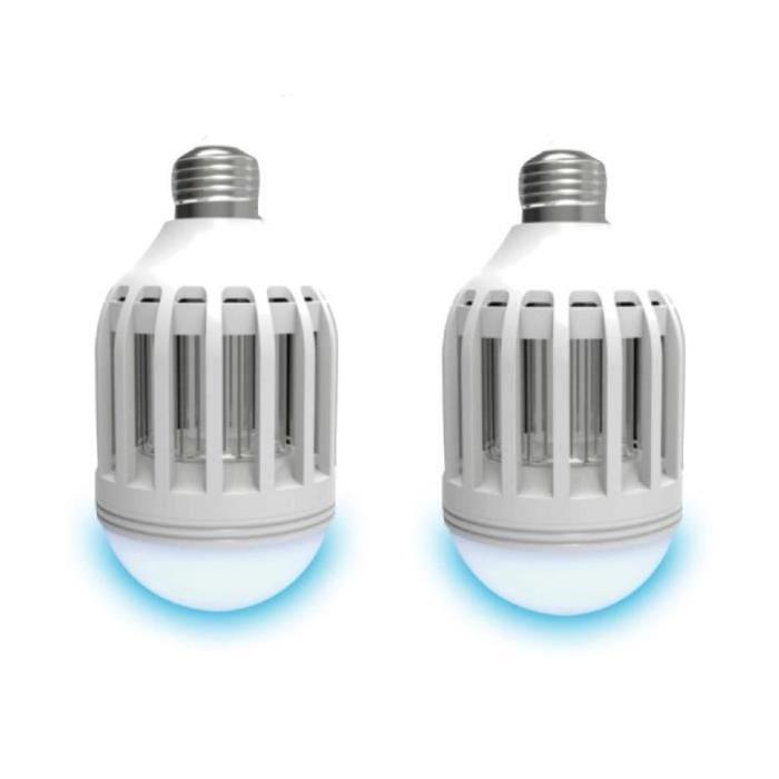 LUMISKY Lot de 2 ampoules LED E27 avec anti-moustique intégré 10 W équivalent a 100 W blanc froid