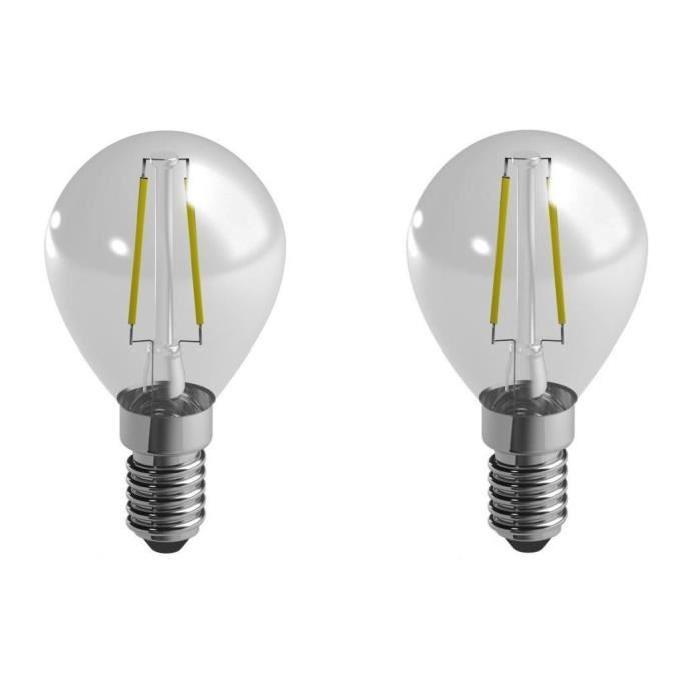 DURACELL Lot de 2 ampoules LED a filaments E14 sphériques 2,4 W équivalent a 25 W blancs chaud