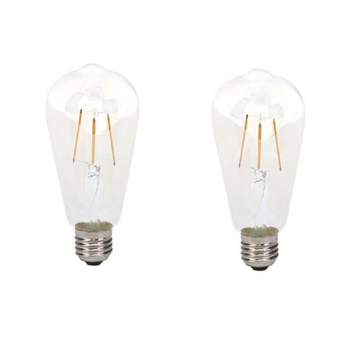 BRILLIANT Lot de 2 ampoules LED filament décorative style retro E27 4 W équivalent a 40 W