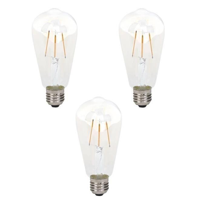 BRILLIANT Lot de 3 ampoules LED filament décorative style retro E27 4 W équivalent a 40 W