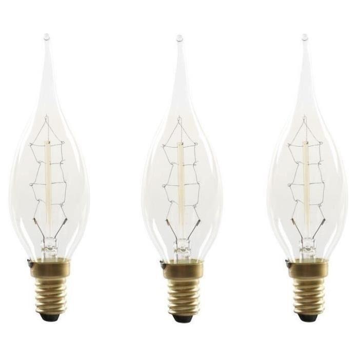 EXPERT LINE Lot de 3 Ampoules a incandescence décorative E14 25 W compatibles variateur