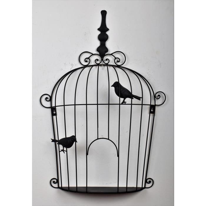 Décoration murale Cage a Oiseaux Noire - L 54 x P 10,4 x H 76 cm