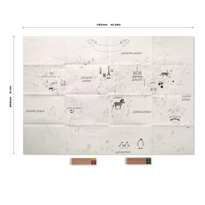 REEVES Poster a colorier - Carte du Monde - 114 x 60 cm