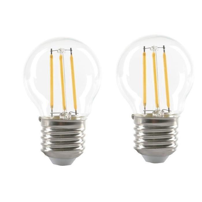 EXPERT LINE Lot de 2 Ampoules LED filament E27 G45 SMD 4 W équivalent a 36 W blanc chaud