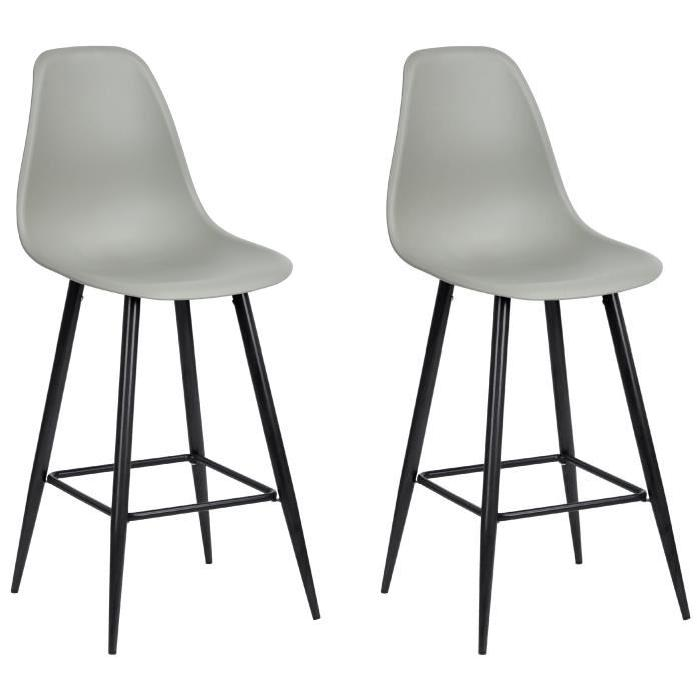 CHARLTON BAR HIGH PP Lot de 2 chaises de bar en métal gris - Style contemporain - L 45 x P 50 cm