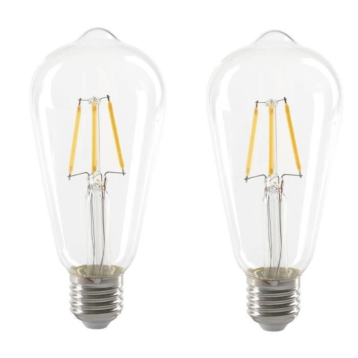 EXPERT LINE Lot de 2 Ampoules LED filament E27 ST64 SMD céramique 4 W équivalent a 36 W blanc chaud
