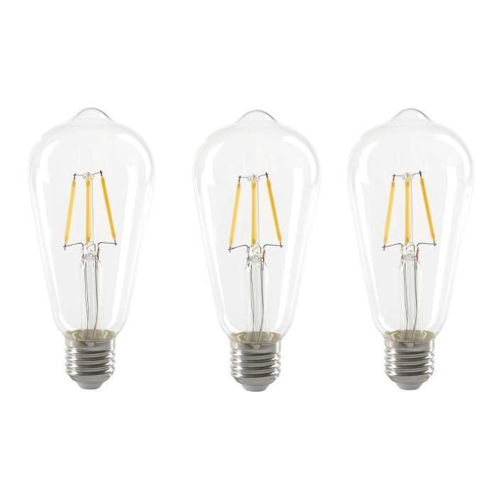 EXPERT LINE Lot de 3 Ampoules LED filament E27 ST64 SMD céramique 4 W équivalent a 36 W blanc chaud