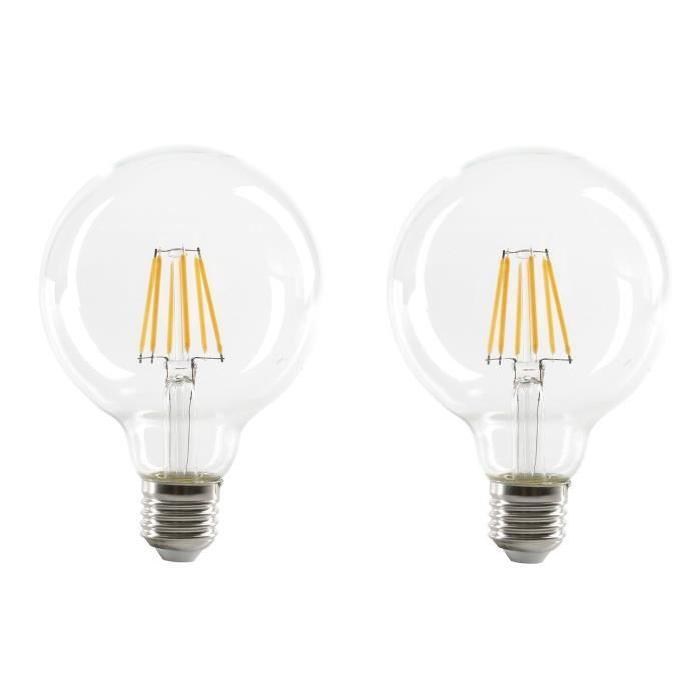 EXPERT LINE Lot de 2 Ampoules LED filament E27 G95 SMD 6 W SMD céramique 6 W équivalent a 48 W blanc chaud