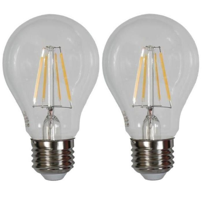 Lot de 2 Ampoules LED filament E27 Edison 4 W équivalent a 40 W blanc chaud