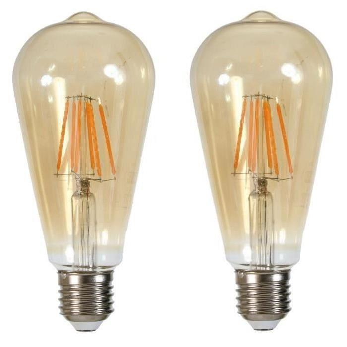 Lot de 2 Ampoules LED filament Edison E27 6 W équivalent a 60 W blanc chaud