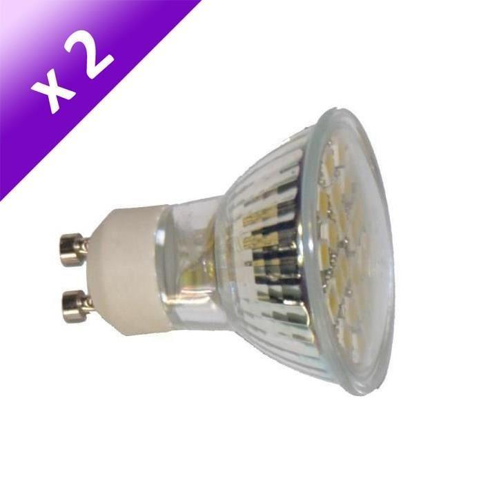 Lot de 2 Ampoules LED GU10 4 W équivalent a 40 W blanc chaud