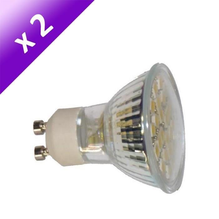 Lot de 2 Ampoules LED GU10 4 W équivalent a 40 W blanc neutre