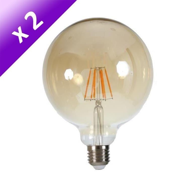 Lot de 2 Ampoules LED filament vintage ambrée E27 6 W équivalent a 60 W blanc chaud