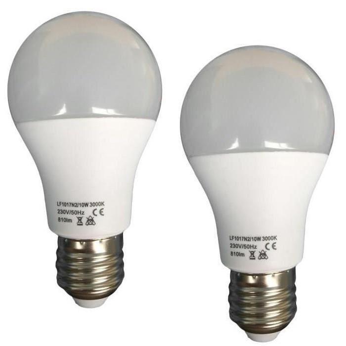 Lot de 2 Ampoules LED E27 10 W équivalent a 100 W blanc neutre