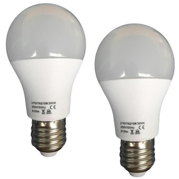 Lot de 2 Ampoules LED E27 10 W équivalent a 100 W blanc chaud