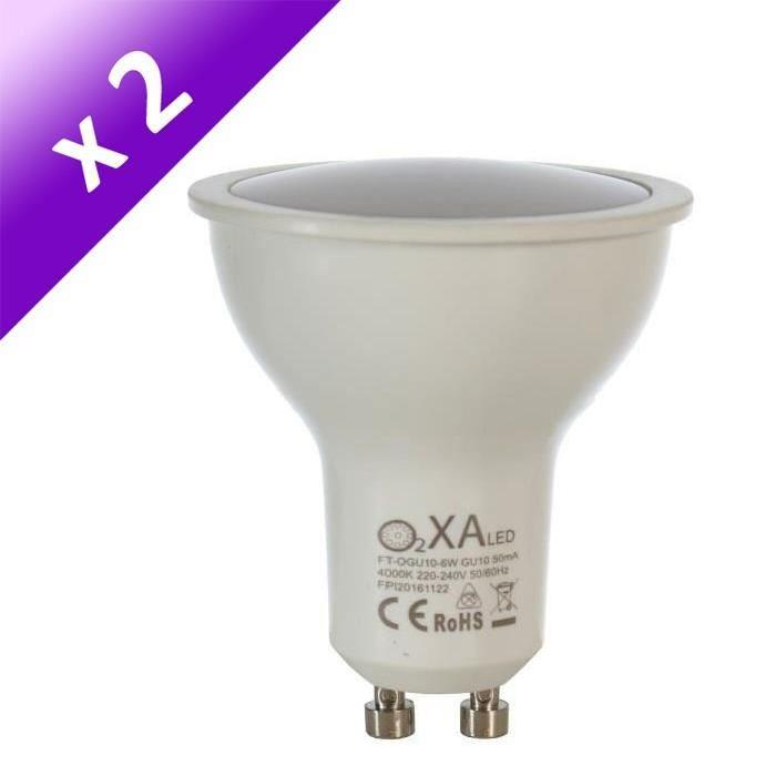 Lot de 2 Ampoules LED GU10 6 W équivalent a 40 W blanc neutre