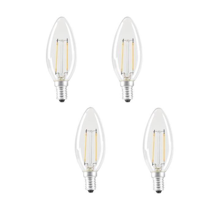 EXPERT LINE Lot  de 4 ampoules LED E14 SMD a filament 2 W équivalent a 24 W blanc chaud