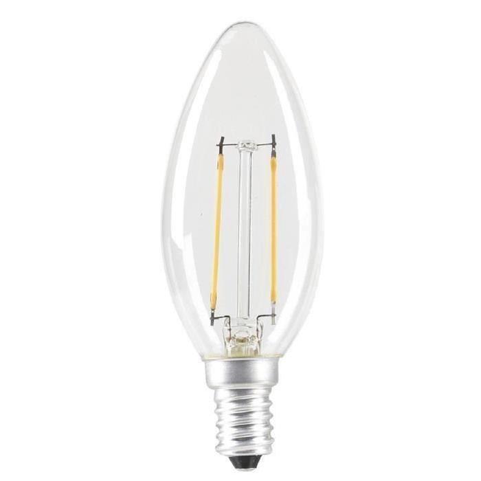 EXPERT LINE Lot  de 5 ampoules LED E14 SMD a filament 2 W équivalent a 24 W blanc chaud