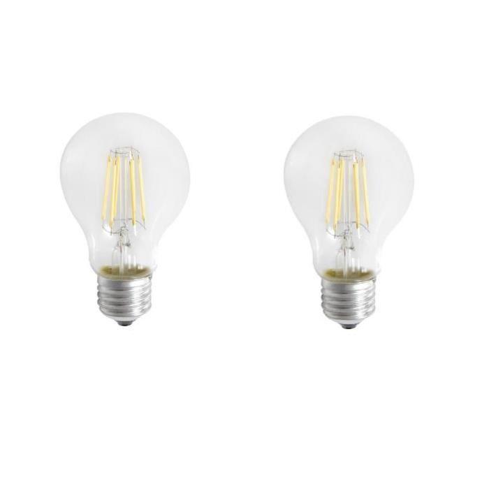 EXPERT LINE Lot de 2 ampoules LED E27 SMD a filament 6 W équivalent a 51 W blanc chaud