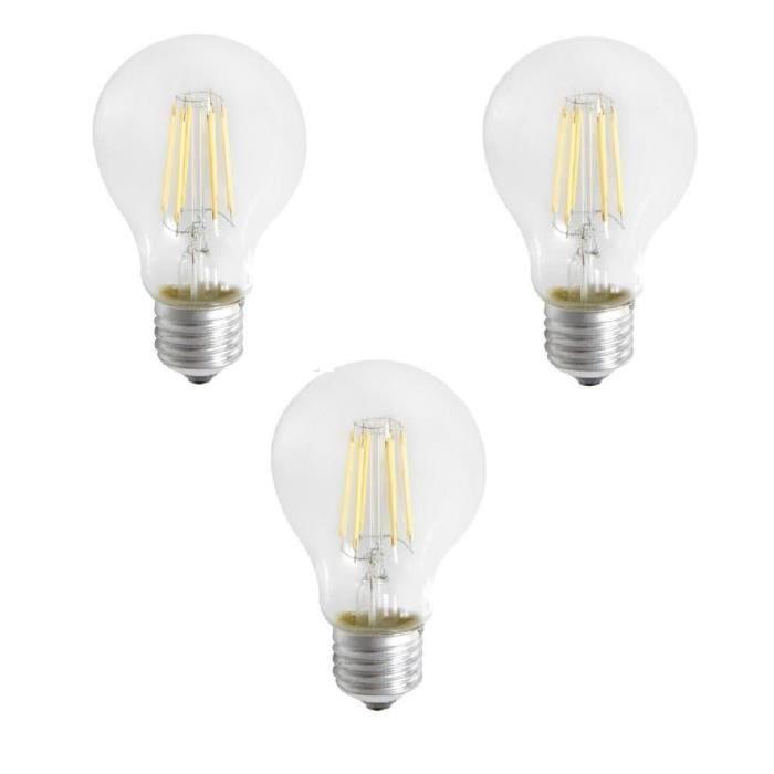 EXPERT LINE Lot de 3 ampoules LED E27 SMD a filament 6 W équivalent a 51 W blanc chaud