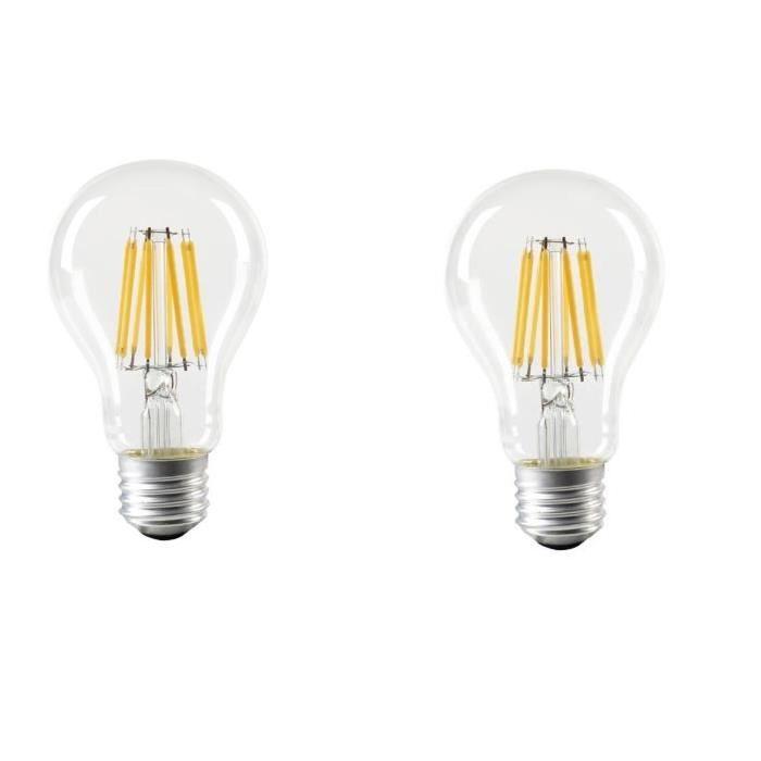 EXPERT LINE Lot de 2 ampoules LED E27 SMD a filament 8 W équivalent a 64 W blanc chaud